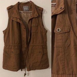 Brown faux fur lined vest